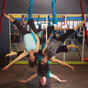 About Aerial Yoga San Antonio-Aerial Yoga San Antonio Founders, Anne, Michaela, and Laura hanging out and having fun.