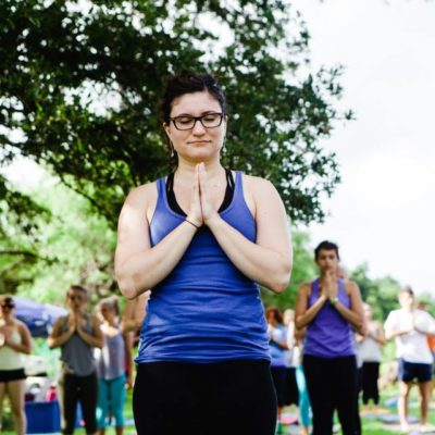 Laura  during the Yoga Day class led by Stephanie Carter. Photo by Stacey Anne Photography